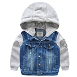 Happy Cherry Little Boys Girls Denim Jeans Jacket With Fleece Hood and Sleeves
