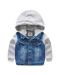 Boys Kids Fleece Lined Denim Hoodie Jeans Jacket Cowboy Pullover Coat with Fleece Sleeves Size 7-8 years