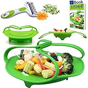 "Premium Silicone Vegetable Steamer Basket - Blue - 8"" - Kitchen Bundle - Heat Resistant Silicon - Bonus 3 in 1 Julienne Veg Peeler & Food eBook"