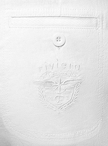 oodji Laccetti 1000n in Bianco Pantaloni Lino Collection con Donna rFzyqHrna
