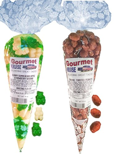 Green Apple White Strawberry Banana Gummy Gummi Bears And Caramel Toasted Peanuts (NET WT 19 OZ) Gourmet Kruise Signature Gift Bags