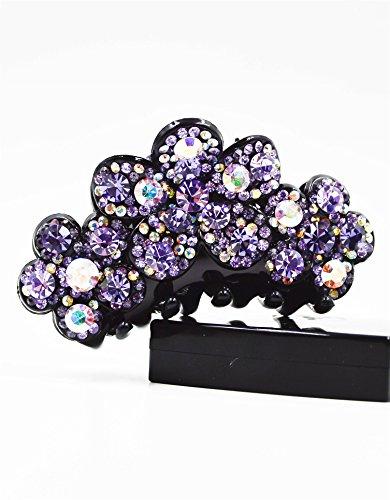 Fancyin New arrival Luxury Purple Crystal colorful rhinestones hair claw clip for women by Fancyin (Image #2)