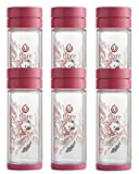 Libre 6 Pack Gift Set Tea Infuser Bottle with a Durable Glass Interior - Garden Dance Pink 9.3 oz