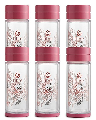 Libre 6 Pack Gift Set Tea Infuser Bottle with a Durable Glass Interior - Garden Dance Pink 9.3 oz by Libre tea