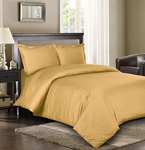Royal Hotel Stripe Gold 3pc Full/Queen Comforter Cover (Duvet Cover Set) 100-Percent Cotton, 500-Thread-Count, Sateen Striped