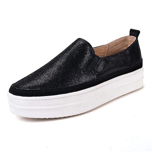 Zapatos De Plataforma Plana para Mujer Gamuza De Piel De Serraje De Gamuza ResbalóN En Zapatillas De Deporte Suela Gruesa Enredaderas Calzado: Amazon.es: ...