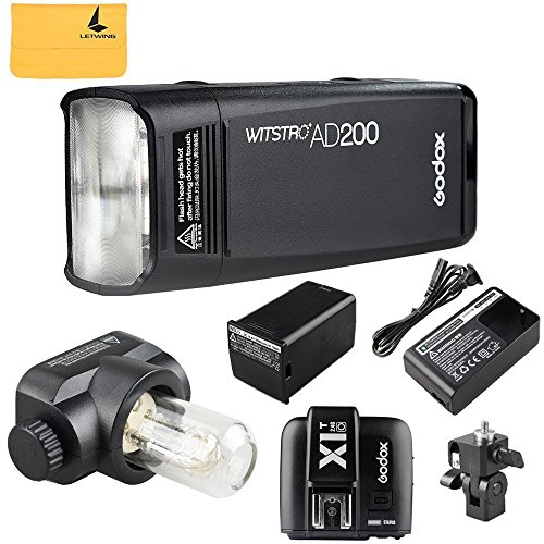 GODOX AD200 TTL 2.4G HSS 1/8000s Pocket Flash Light Double Head 200Ws with 2900mAh Lithium Battery Flashlight Flash Lightning+GODOX X1T-O Flash Trigger Transmitter for Olympus by Godox