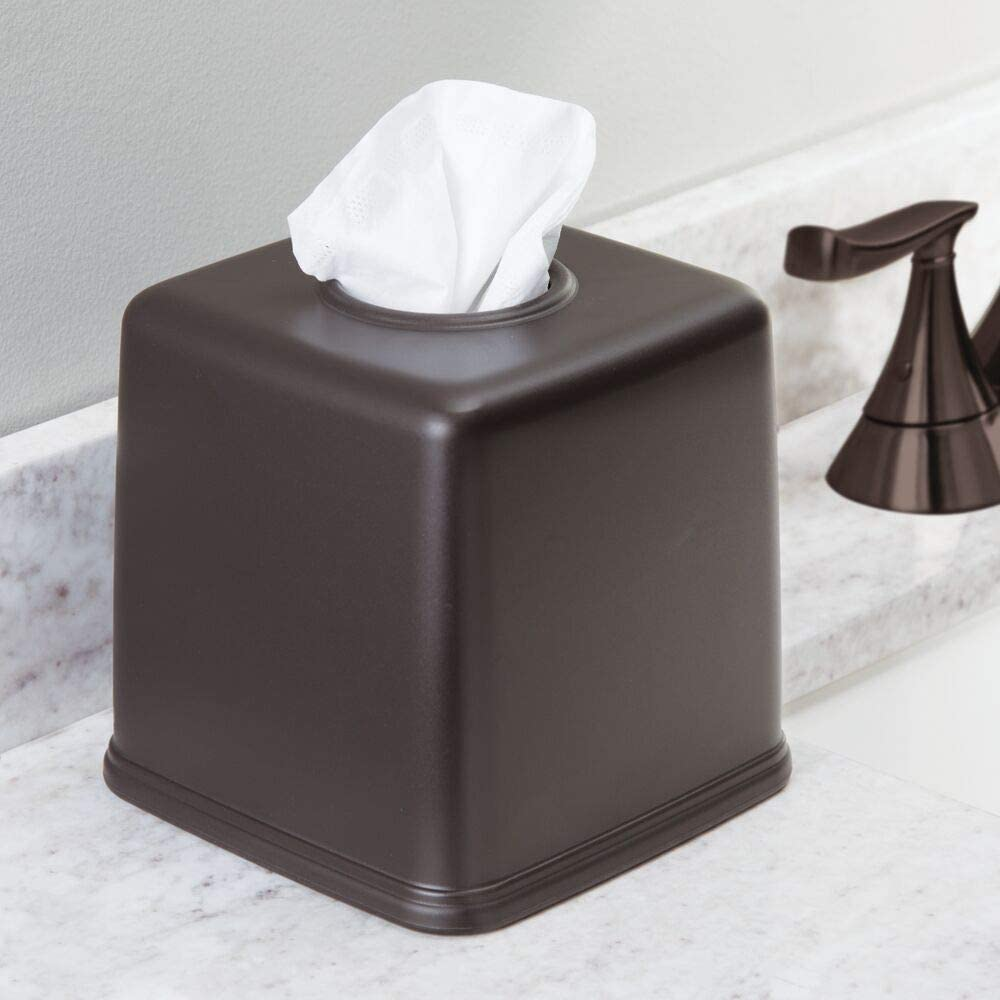 Bronze Desks and Tables mDesign Plastic Square Facial Tissue Box Cover Holder for Bathroom Vanity Countertops Bedroom Dressers Night Stands