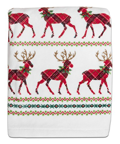 Dena 5795BTHTOWRED Reindeer Plaid Printed Bath - Christmas Bath Towel