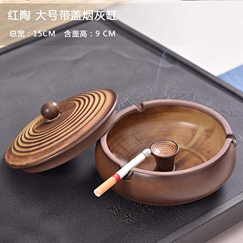 Outdoor sports kitchen Ashtray Ceramic Smoke Extinguisher Ashtray with Cover, Chocolate red Pottery Large with lid ()