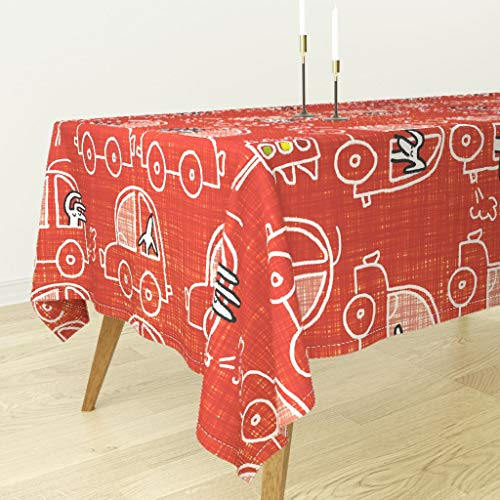 Roostery Tablecloth - Cars Dogs Crayon by Cooper+Craft - Cotton Sateen Tablecloth 70 x 70 - Dog Crayon