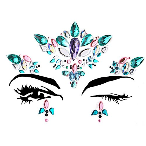 6 Sets Women Mermaid Face Gems Glitter,Rhinestone Rave Festival Face Jewels,Bindi Crystals Face Stickers, Eyes Face Body Temporary Tattoos for Music Festivals Vibe Bohemian Coachella by Diva Woo (Image #6)