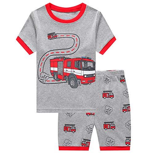 Boys Pajamas Fire Truck Cotton Toddler Pjs 2 Piece Kids Sleepwear Clothes Set 2T-7T