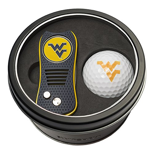 (Team Golf NCAA West Virginia Mountaineers Gift Set Switchblade Divot Tool with Double-Sided Magnetic Ball Marker & Golf Ball, Patented Single Prong Design, Less Damage to Greens, Switchblade Mechanism)
