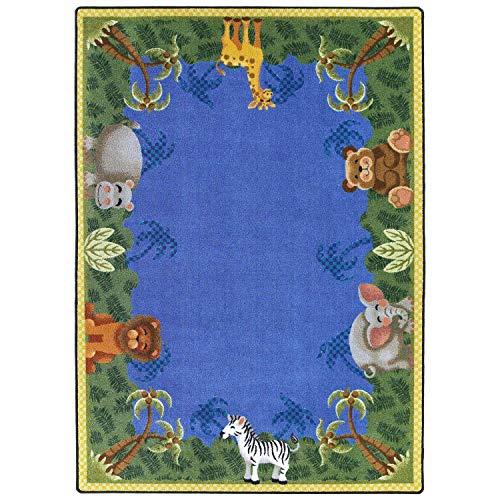 Joy Carpets Kid Essentials Infants & Toddlers Jungle Friends Rug, Multicolored, 7'8