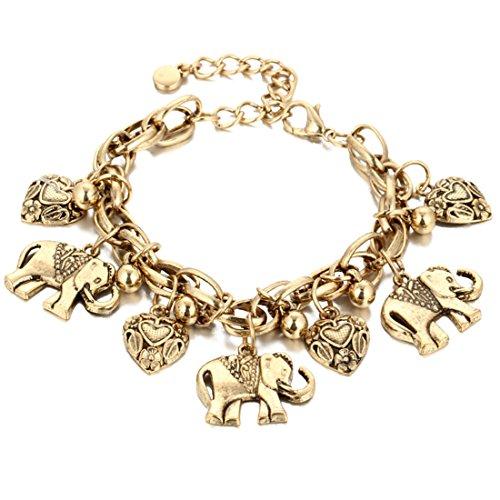 Dan Ching Retro Carved Elephant Anklet Gold (Ankle Retro Bracelet)