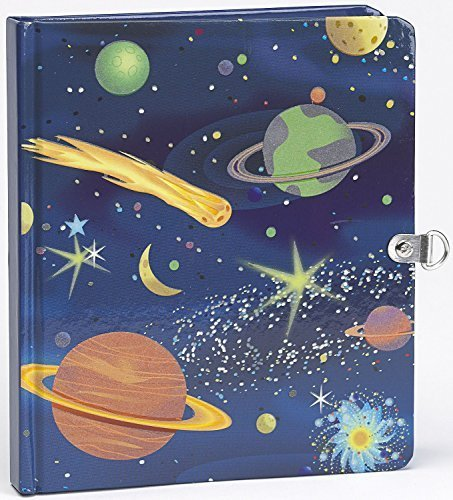 Peaceable Kingdom Deep Space Glow in the Dark 6.25'' Lock and Key, Lined Page Diary for Kids by Peaceable Kingdom