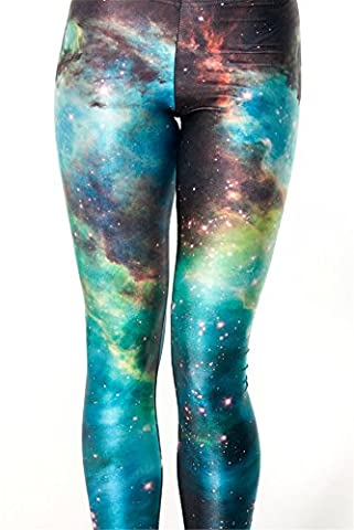 Hoyou Sexy Smooth Patterned Pants Slimming Tribal Galaxy Print Leggings For Women Grils St. Patrick's Day GREEBSPACE M