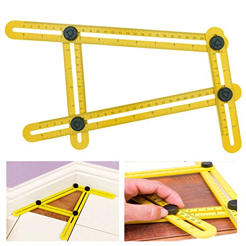 Multi-Angle Ruler Tool | Angleizer Angle Finder Template Tool | Adjustable Tile & Flooring Measurement Ruler | Universal Contractor, Builder, Woodworking, DIY Instrument