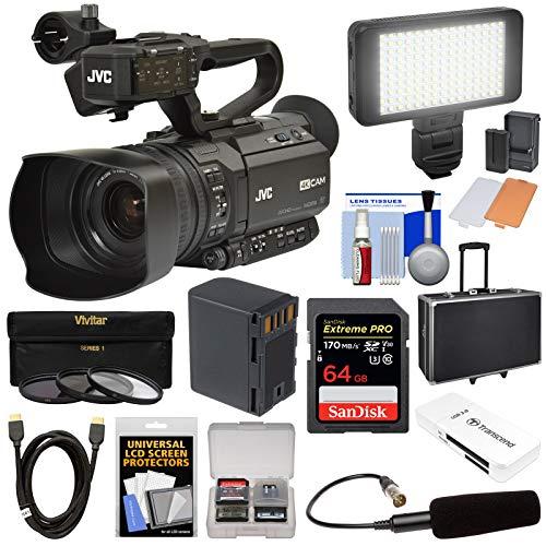 JVC GY-HM180U Ultra 4K HD 4KCAM Professional Camcorder & Top Handle Audio Unit with XLR Microphone + 64GB Card + Battery + Case + Video Light Kit (Jvc Camera Sports)