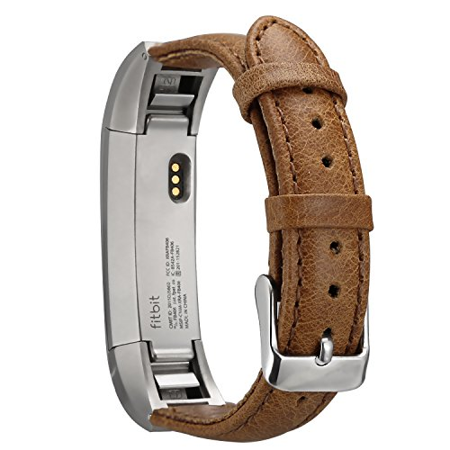 For Fitbit Alta Leather Bands,ESEEKGO Genuine Leather Replacement Band for Fitbit Alta HR and Fitbit Alta ( No Tracker,Camel Band )