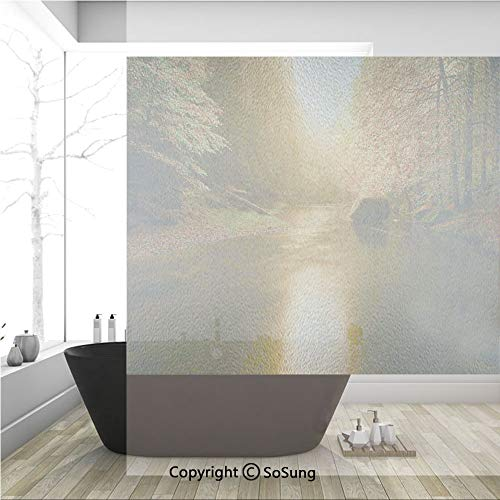 - 3D Decorative Privacy Window Films,Calm Serene Autumn Forest with Flowing River Sunlight Pine and Oak Trees Branches,No-Glue Self Static Cling Glass film for Home Bedroom Bathroom Kitchen Office 36x36