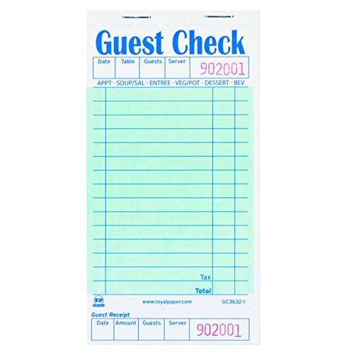 Royal GC36321 Guest Check Book, 3 1/2 x 6 7/10, 50 per Book (Case of 50 Books) by Royal