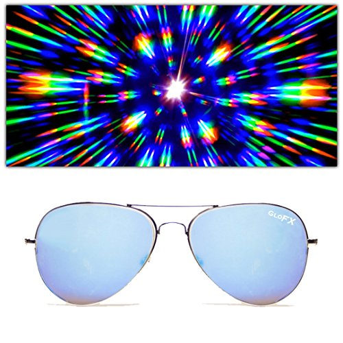 GloFX Metal Pilot Aviator Style Diffraction Glasses – Blue Mirror - 3D Prism Firework - Diffraction Glasses Rave