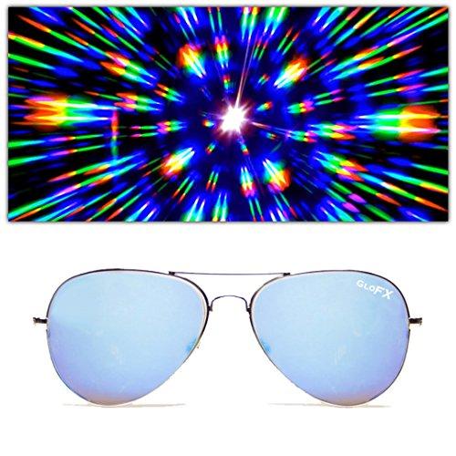 GloFX Metal Pilot Aviator Style Diffraction Glasses – Blue Mirror - 3D Prism Firework Grating