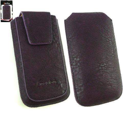 Emartbuy® Classic Range Violet Luxe En Cuir Pu Faites Glisser Pouch / Case / Sleeve / Holder (Taille XL) Avec Rabat Magnétique Et Pull Mécanisme Tab Adapté Pour Apple Iphone 5