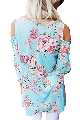 Neuf Bleu clair Imprimé floral manches 3/4Drop épaule Chemisier de soirée pour femme Tenue décontractée d'été Taille UK 16EU 44