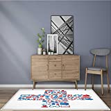 Collection Area Rug abstract concept of medicine medicals icons texture in cross shape composition Ideal Anti Slip Rug Pad W24 x L35.5 INCH