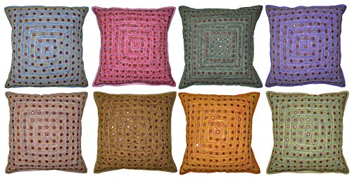 Mirror Work Design Cotton Cushion Covers 16 X 16 Inches ( 20 Pcs ) by Lalhaveli