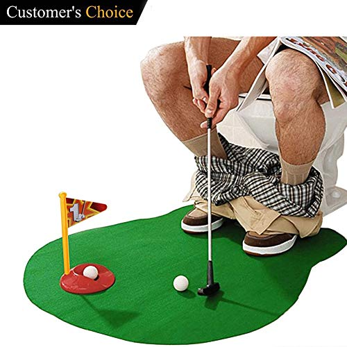 Toilet Golf balls accessories Set with Potty Putter, Mini Potty Golf Game Novelty (6 Piece set) -