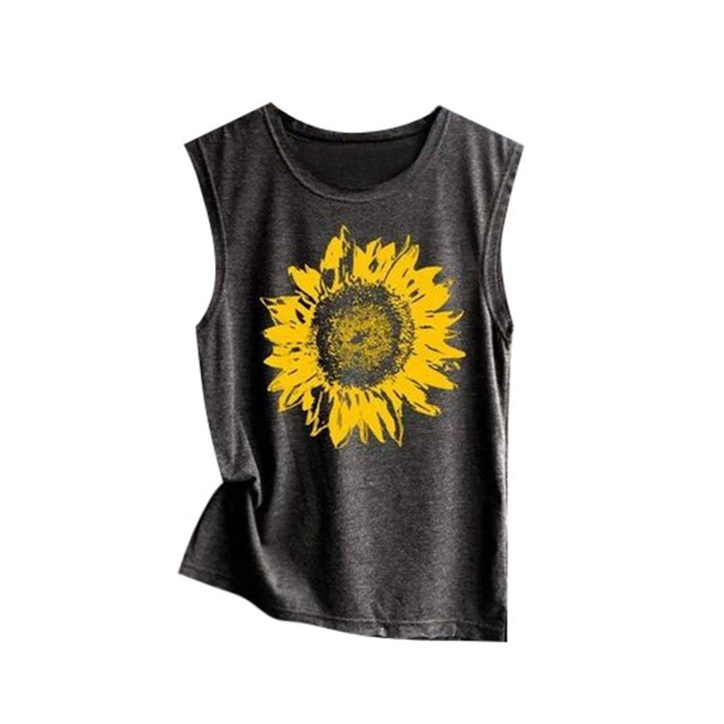 Mysky Fashion Women Summer Casual Sunflower Print Vest T-Shirt Ladies Brief Sleeveless Loose Tank Top Blouse Dark Gray