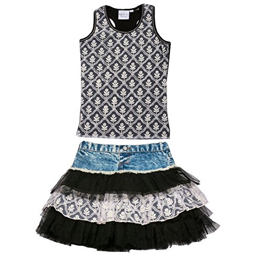 Ooh La La Couture Little Girls Black Blue Denim Ruffle 2 Pc Skirt Set 2T by Ooh La La Couture