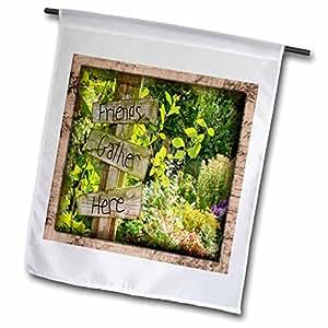 Susan Brown Designs Places Themes - Gathering in the Garden - 12 x 18 inch Garden Flag (fl_41290_1)
