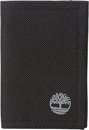 Timberland Men's Nylon Trifold Black Wallet Black Tri Fold Handbag