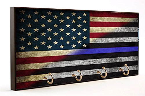 (American Flag with Thin Blue Line Key Hanger)