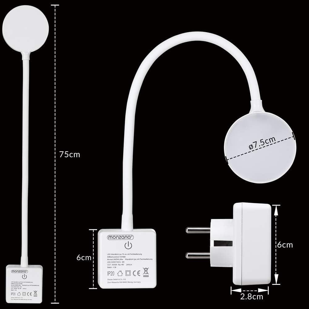 Monzana LED Steckerlampe 46,5cm Steckdosenlampe Steckerleuchte 5000K Touchschalter dimmbar Schreibtischlampe Wandlicht
