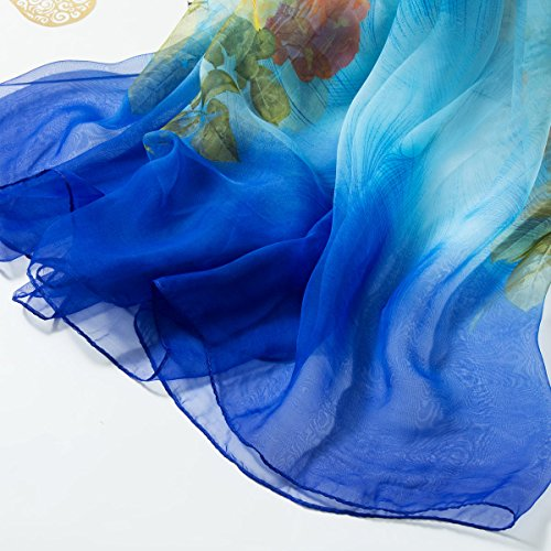 Blue Clear Chic Aivtalk Classic Satin Fashion Sciarpa Multicolor Sciarpa Long Lavis Donna Silk Special Chic Print Light Fiori PTwwSCxq