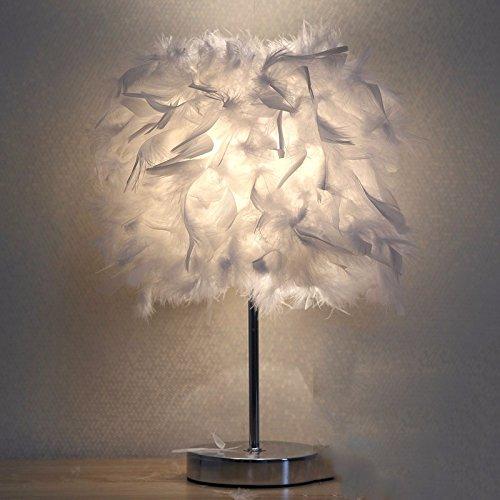 XHOPOS HOME Tischleuchte Feder Lampen Schlafzimmer Nachttisch Lampen  minimalistisch Modern warmes Licht 25 cm weiß Schalter