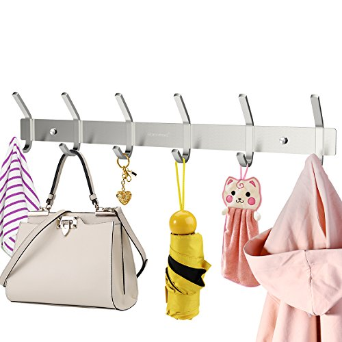 Homemaxs Wall Coat Rack with 6 Hooks 304 Stainless Steel Hook Rack for Coats Clothes Cap Hat Belt Key, 16.9 Inch (Wall Coat Rack)
