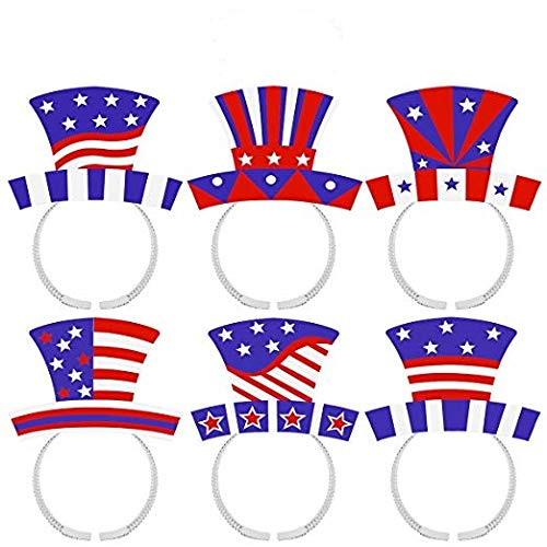 LUOEM 4th of July Headband Patriotic Star Boppers American Flag Headbands Independence Day Party Accessories,Pack of 12