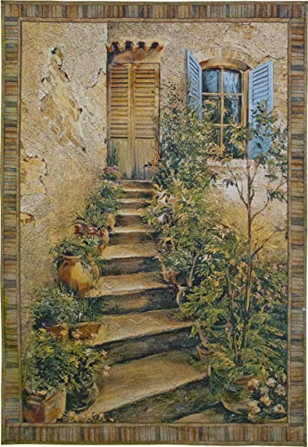 Tuscan Villa II by Roger Duvall | Woven Tapestry Wall Art Hanging | Rustic Italian Village Steps | 100% Cotton USA Size ()