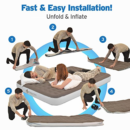 Etekcity Camping Air Mattress Inflatable Single High Airbed Blow up Bed Tent Mattress with Rechargeable Air Pump, Height 9'', Queen Size by Etekcity (Image #2)