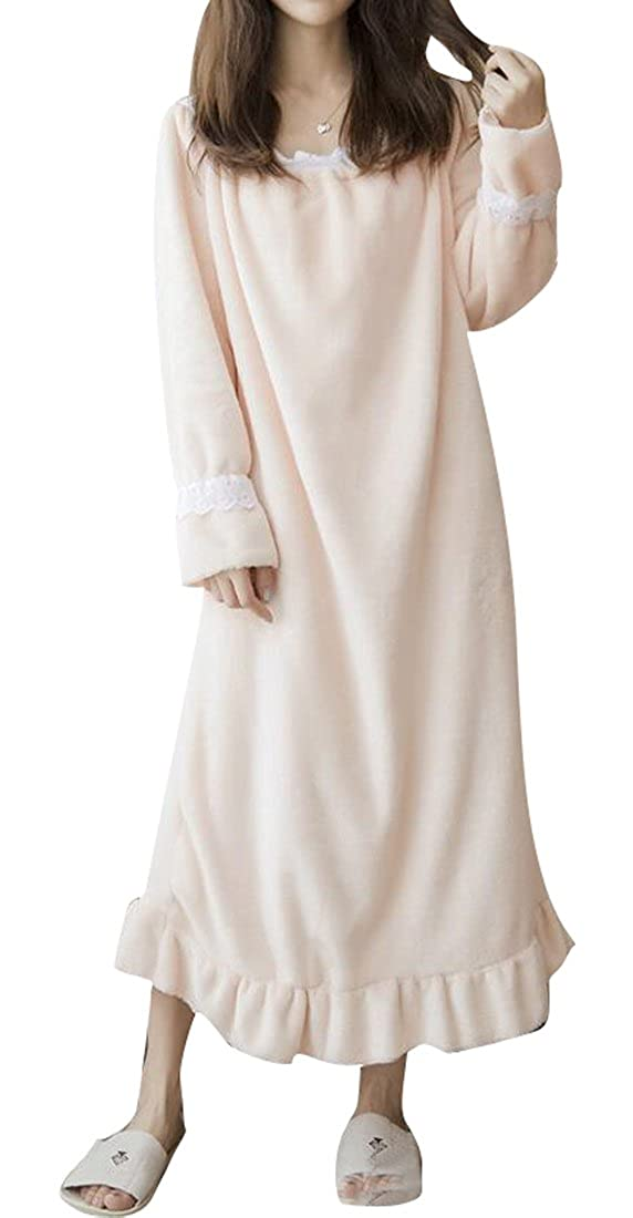 LD Womens Soft Fleece Flannel Long Sleeve Thicken Nightgown Sleep Dress Homewear
