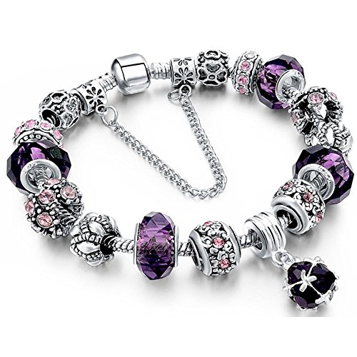 GerTong Bracelet Beads Carved Bracelet Crystal Beads for Wome,Best Gift (Purple)