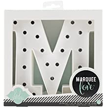 American Crafts 369092 Heidi Swapp Marquee Love 8-inch Marquee Kit by | Letter M | Includes DIY marquee letter, light strand, 23 clear lightbulbs, and tracing template