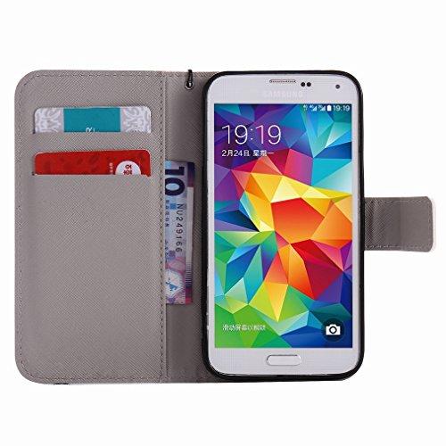 Custodia Samsung Galaxy S5 / G900F Cover Case, Ougger Portafoglio PU Pelle Magnetico Stand Morbido Silicone Flip Bumper Protettivo Gomma Shell Borsa Custodie con Slot per Schede, Skull